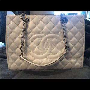 Authentic White Chanel Grand Shopping Tote